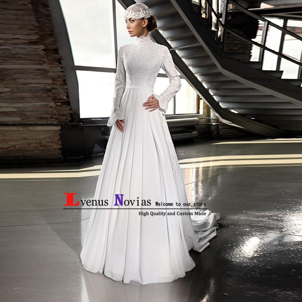 Elegant Arabic Islamic Hijab Wedding Dress 2019 Robe mariage High Neck Lace Beaded Long Sleeve Muslim