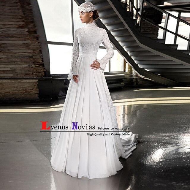 Elegant Arabic Islamic Hijab Wedding Dress 2019 Robe mariage High Neck Lace  Beaded Long Sleeve Muslim Wedding Dresses bruidsjurk 3a3d8a4e9f66