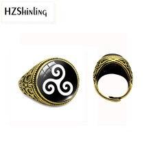 HZ nouvelle mode Vintage anneau adolescent loup verre dôme pendentifs Triskele verre Triskelion Allison Argent bijoux