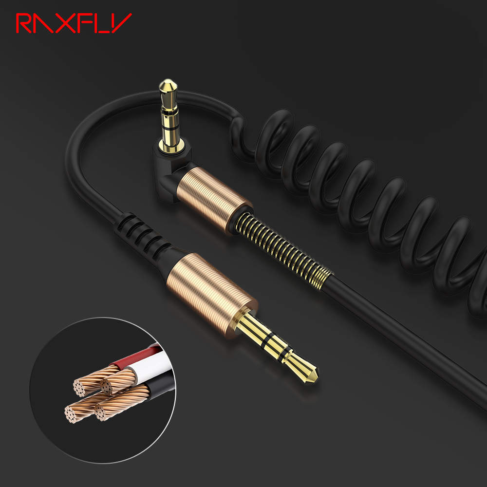 audio cable jack male to male stereo rca cable black telescopic spring 2m aux cable for. Black Bedroom Furniture Sets. Home Design Ideas