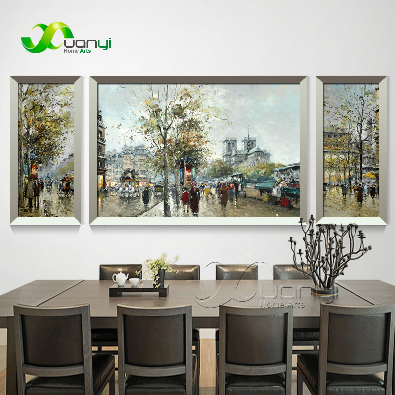 3 Panel City Street Landscape Canvas Oil Painting Wall Art Home Decor Wall Picture for Living Room Modern Prints Unframed PR1459
