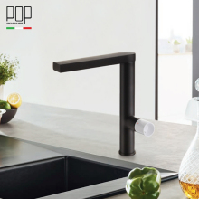 POP Modern Kitchen sink faucet, single handle contemporary matte black and chrome kitchen faucet mixer tap