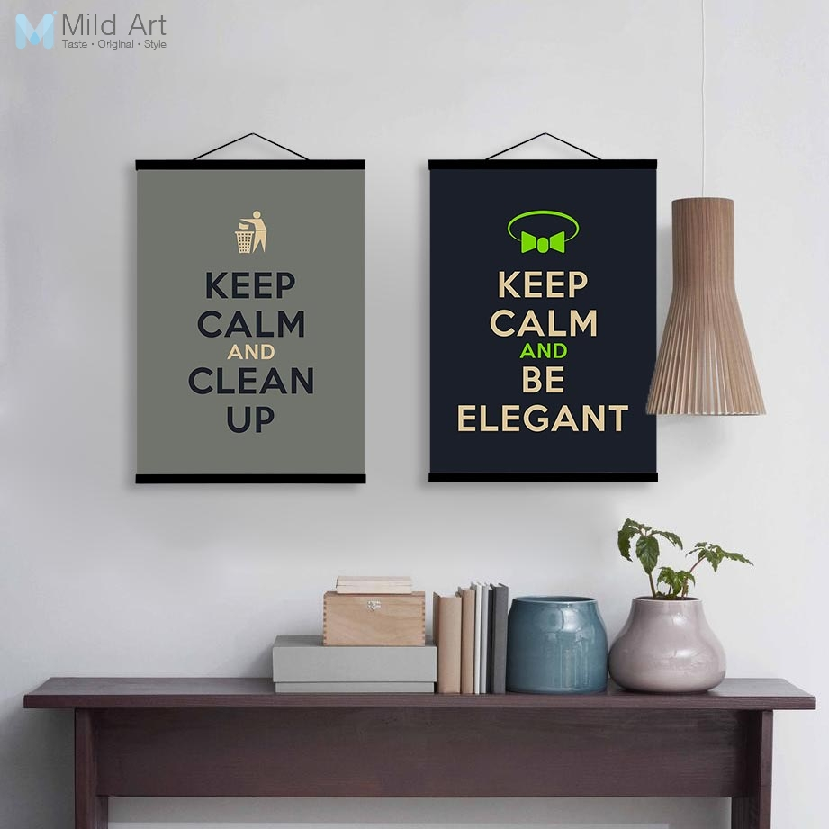Us 8 36 47 Off Keep Calm Coffee Life Hippie Quotes Wooden Framed Poster Nordic Kitchen Wall Art Picture Cafe Home Decor Canvas Painting Scroll In