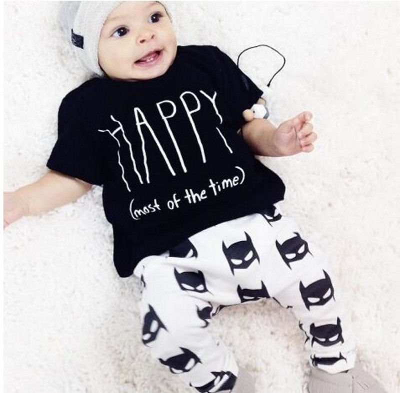 Happy Toddler Newborn Baby Boy Clothes T Shirt Batman Pants Outfits