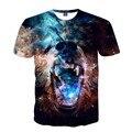 2017 Моды для Мужчин 3D Печать Galaxy Пространство Футболка Причинно О-Образным Вырезом короткие Рукава Clothing для Мужчин Звездное Небо И Медведь Tee рубашка