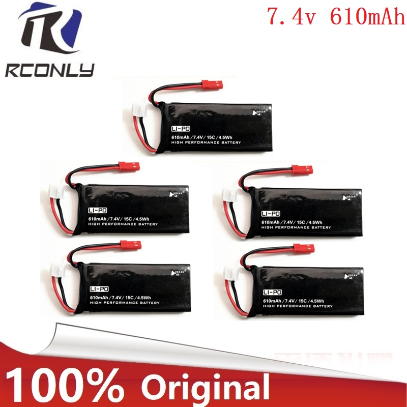 Original For Hubsan X4 H502S H502E 7.4V 610mAh lipo battery 15C 4.5WH battery 2S JST Plug For RC Quadcopter Drone Parts 5Pcs/lot 7 4v 2700mah 10c battery 1 in 3 cable usb charger set for hubsan h501s h501c x4 rc quadcopter
