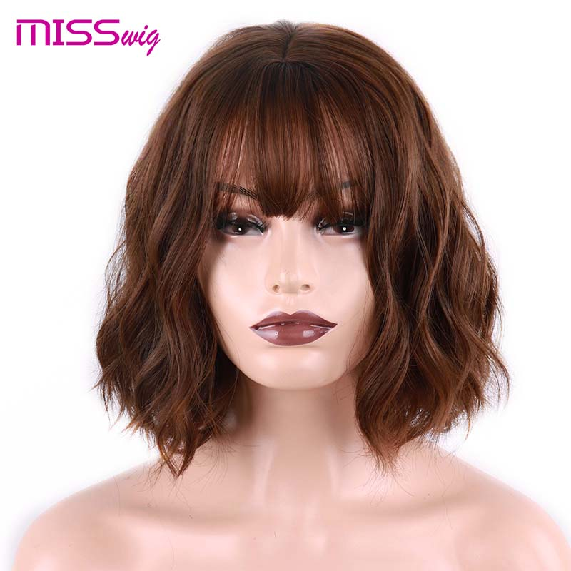 MISS WIG Short Water Wave Synthetic Hair 8Colors  Available Wig For Women Heat Resistant Fiber Daily Full False Hair