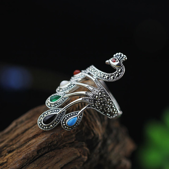 925 Sterling Silver Peacock Ring 2