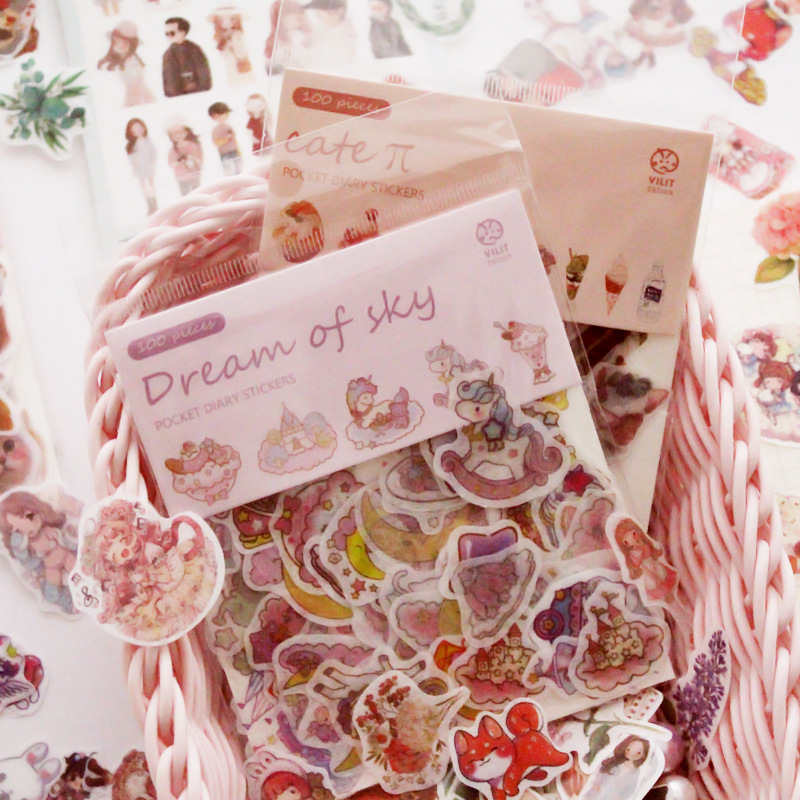 100pcs/pack Kawaii Unicorn Face Cat Leaves Decorative Washi Stickers Scrapbooking Stick Label Diary Stationery Album Stickers