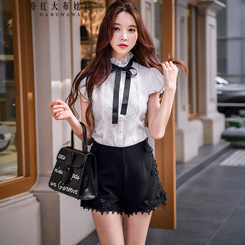 Dabuwawa Summer 2018 Women   Shorts   Lace high waist wide leg lace   shorts