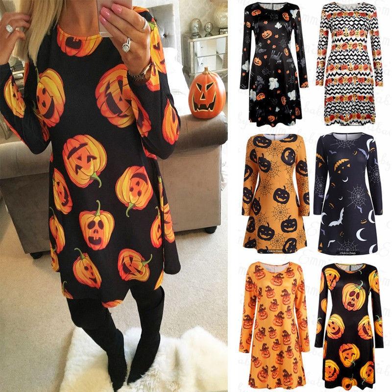 Women Casual Knee-length Dress 2018 New Arrival Long Sleeve Halloween Autumn Dress For Lady Women Pumpkin Dress