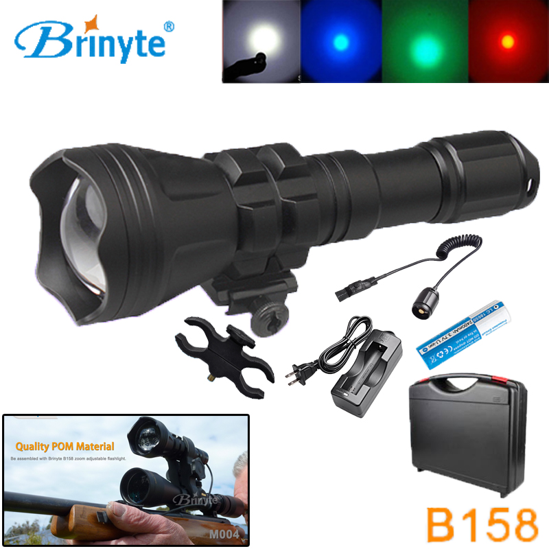 B158 Zoomable Outdoor Hunting Flashlight Cree XM-L2 U4 LED Torch Lighting with 1865 Rechargeable Battery Gun Mount Remote Switch 5000lm portable flashlight uniquefire uf 1400 5 mode 4 cree xm l2 led torch lamp for 4 18650 li ion rechargeable battery