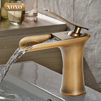 Waterfall Brass Vanity Sink Faucet Chrome Bathroom Sink Basin Mixer Tap 83008