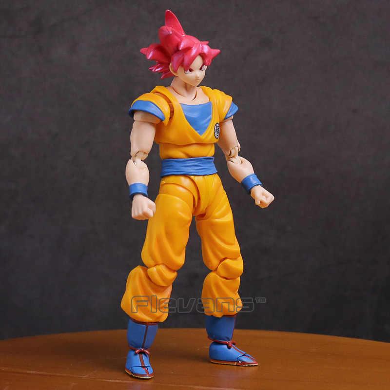 Dragon ball z super saiyan deus filho goku cabelo vermelho gokou pvc figura de ação collectible modelo brinquedo