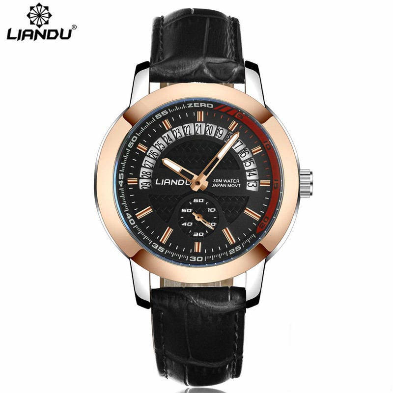 Mens Watches Top Brand Luxury LIANDU Quartz Watch Men Sport Military Date Clock Male Leather Wristwatch Relogio Masculino 2017 top luxury brand skmei quartz watch men wristwatch clock male quartz watch mens military sports watches relogio masculino