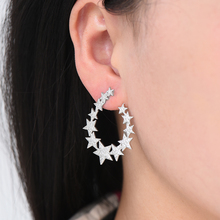 SisCathy 4Colors Elegant Women Earrings Iregular Geometry Stars Full Pave Cubic Zirconia Ear Party Accessories