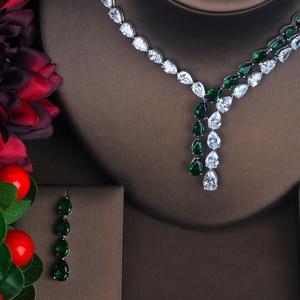 Image 1 - HIBRIDE האחרון אופנה AAA מעוקב Zirconia שרשרת עגילי חתונה כלה תכשיטי סטי שמלת parure אביזרי bijoux N 423