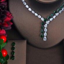 Hibride mais recente moda aaa zircônia cúbica colar brincos casamento conjuntos de jóias nupcial vestido acessórios parure bijoux N 423