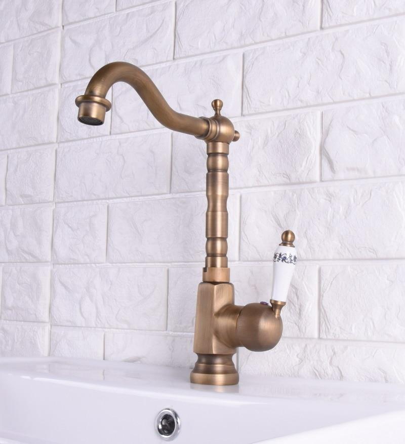 Laiton Antique finition robinet de cuisine Bronze unique en céramique poignée eau chaude et froide cuisine évier robinet salle de bains bassin robinets asf114 - 4