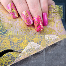 8 Options 1 Sheet Embossed 3D Gold Metallic Nail Stickers Blooming Flower Design Self-adhesive Art Decals