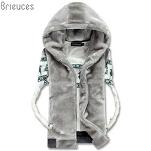 Brieuces 2018 New Spring Autumn Sleeveless Faux Fur Jacket for Men Fashion Warm Hooded Male Winter Vest Waistcoat Mens Vests
