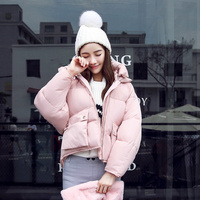 Winter Thicken Short Puffer Parka Women Pink Padded Jacket With Big Pockets Wadded Coat For Woman 2018 Windproof Parkas Female
