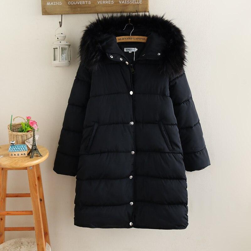 2017 Winter Women Faux Fur Collar Coat Ladies Plus Size Parkas Warm Down Jacket Female Casual Loose Outerwear Mid-length Style цены онлайн