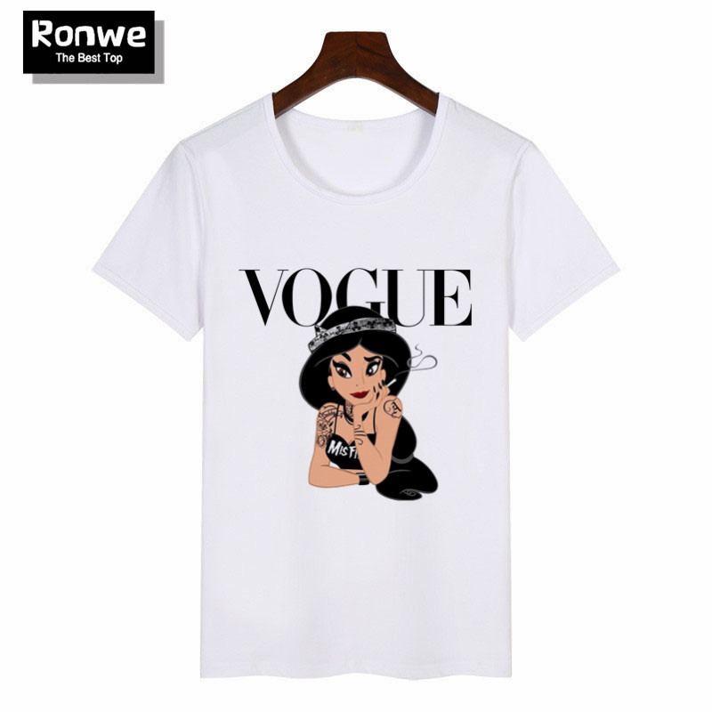 Women Princess Vogue Harajuku Black T Shirt Female Summer Short Sleeve T-shirt Girl Vogue Tops Tee 2