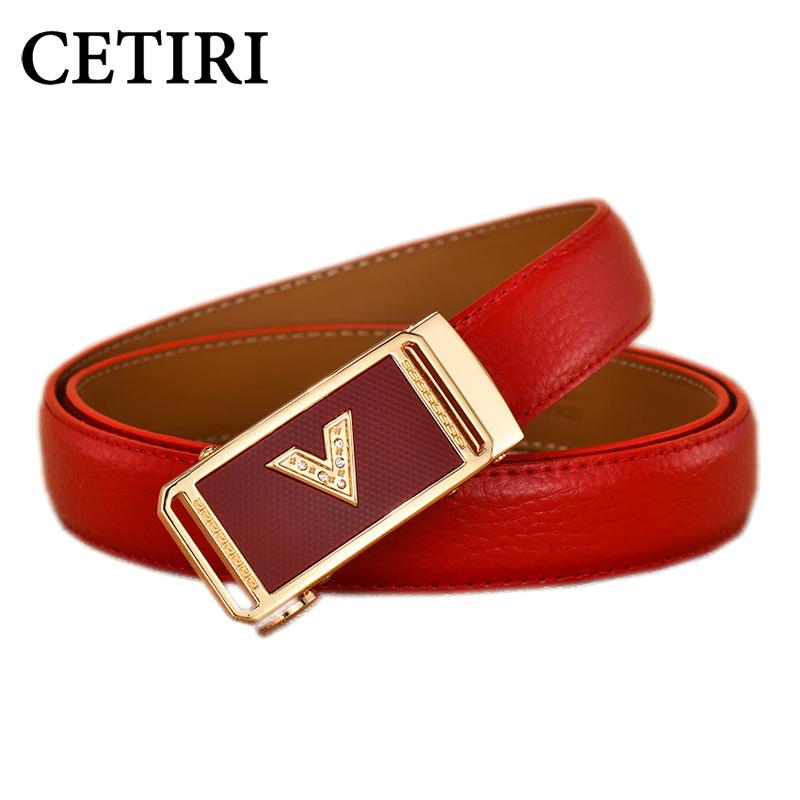Women Fashion Designer Belts With Rhinestones For Jeans Ladies Gold Automatic Buckle Metal Leather Belt Ceinture Cuir Femme