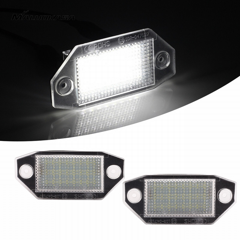 MALUOKASA For Ford Mondeo MKIII MK3 4D/5D 2000-2007 4014SMD License Plate Light 2PCs Number-plate Lamp Auto Turn Signals White 2 pair super white 6000k canbus error free smd chip car led license plate light auto lamp number for ford mondeo mk ii 96 00
