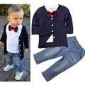 Terno Formal Para Crianças Cavalheiro 3 PCS Meninos Desgaste Do Partido Roupa Dos Miúdos Conjuntos de Roupas Meninos Da Criança Do Bebê Menino Roupas de Outono
