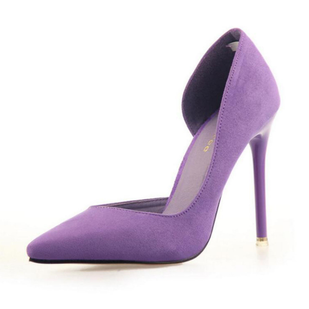цена на Candy Color Women Wedding Shoes Suede Pump High Heels OL Lady Office Shoes Pointed toe Chic Court Stiletto Party Classic Shoes