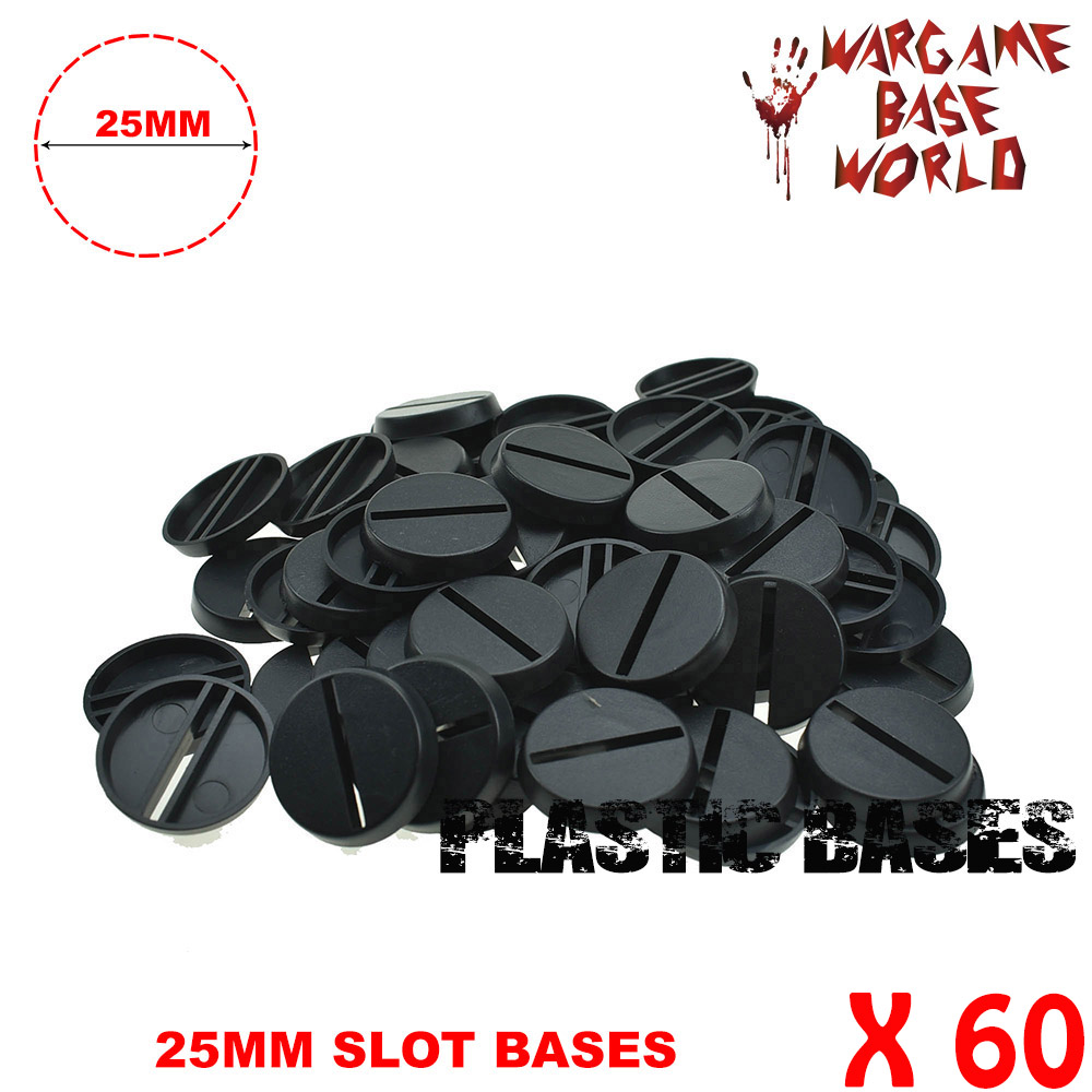 Lot-Of-60-25mm-Round-slot Bases-For-Miniatures 60pcs