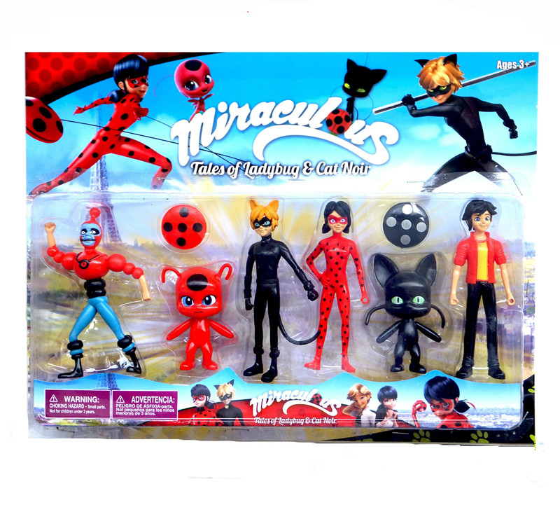 10cm 6pcs/lot Disney Miraculous Ladybug Comic Ladybug Girl Doll Action Figure Vinyl Anime Toys Children Birthday Christmas Gift cute pet rare color sausage short hair dog action figure girl s collection classic anime christmas gift lps doll kids toys