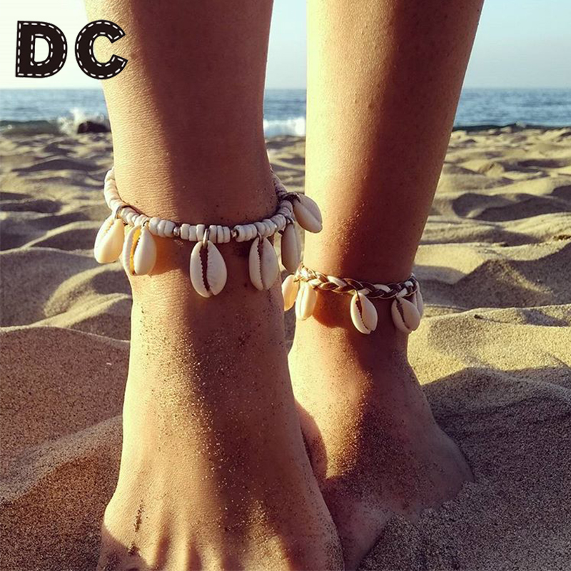 DC Vintage DIY Rope Wood Bead Ankle Bracelet Natural Shell Bohemian Anklet Women Foot Jewelry Summer Beach Holiday Accessories