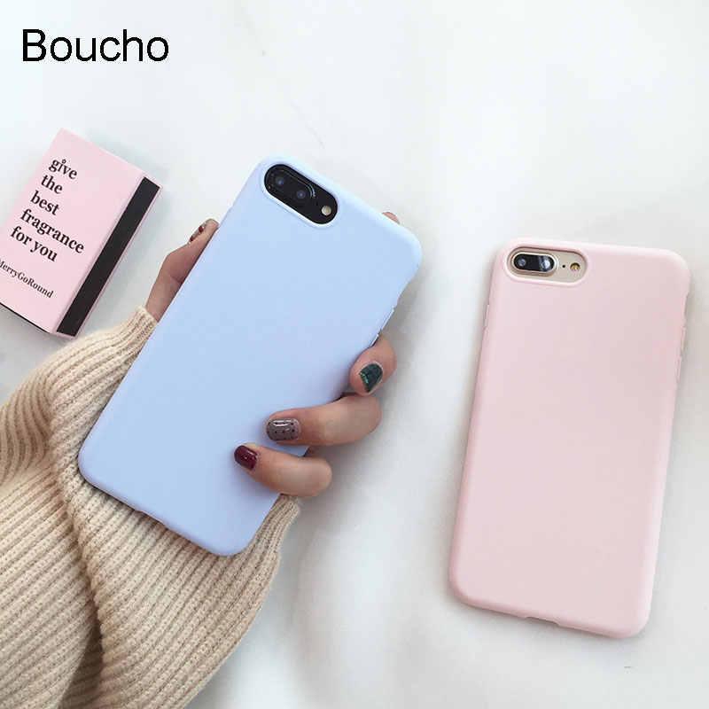 Boucho فاخرة الحلوى اللون سيليكون حالة الهاتف ل فون × حالة ل آيفون 6 6 ثانية 7 8 زائد حالات الأزياء لينة fundas تبو