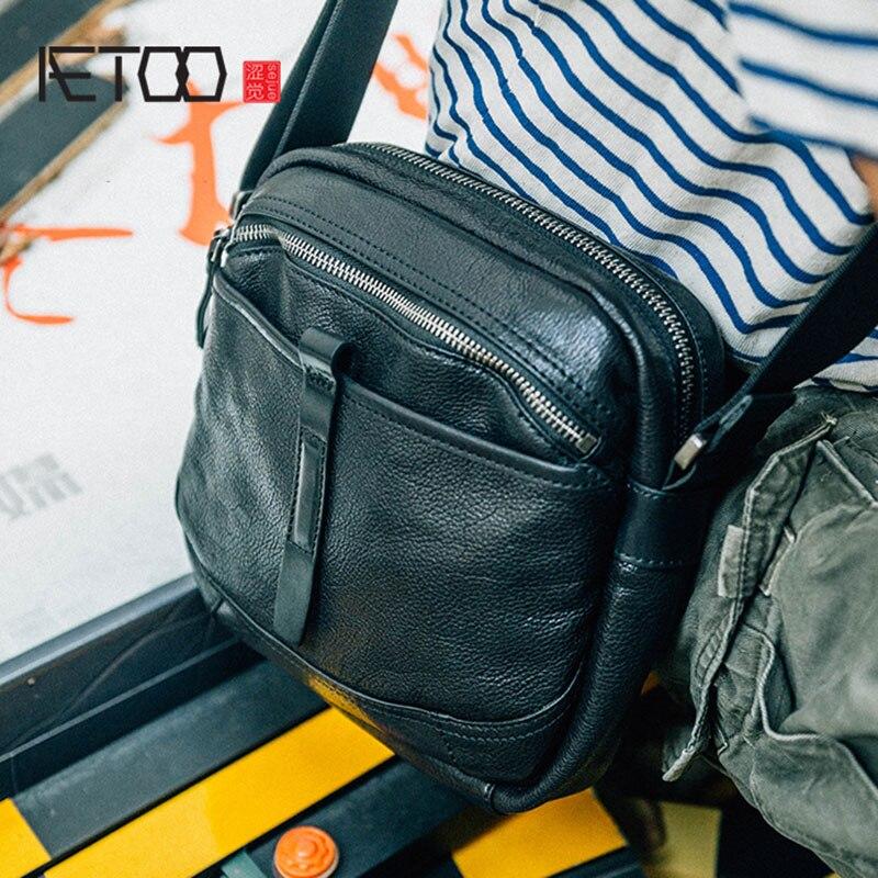 a6ccb37f7e79 AETOO мужская кожаная сумка через плечо большой емкости Ретро Повседневная  Одиночная сумка мужская кожаная сумка
