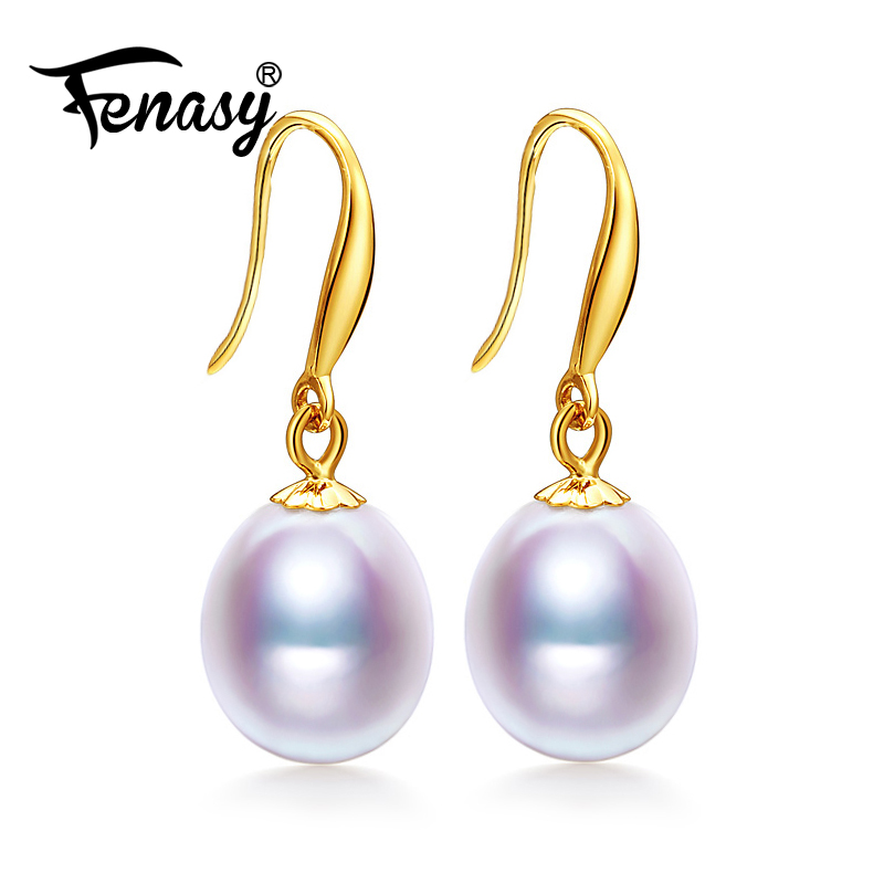 FENASY 18k Gold Earrings Natural Freshwater Pearl Antiallergic 18K Real Gold Drop Earrings For Women Wedding Party Pearl Jewelry