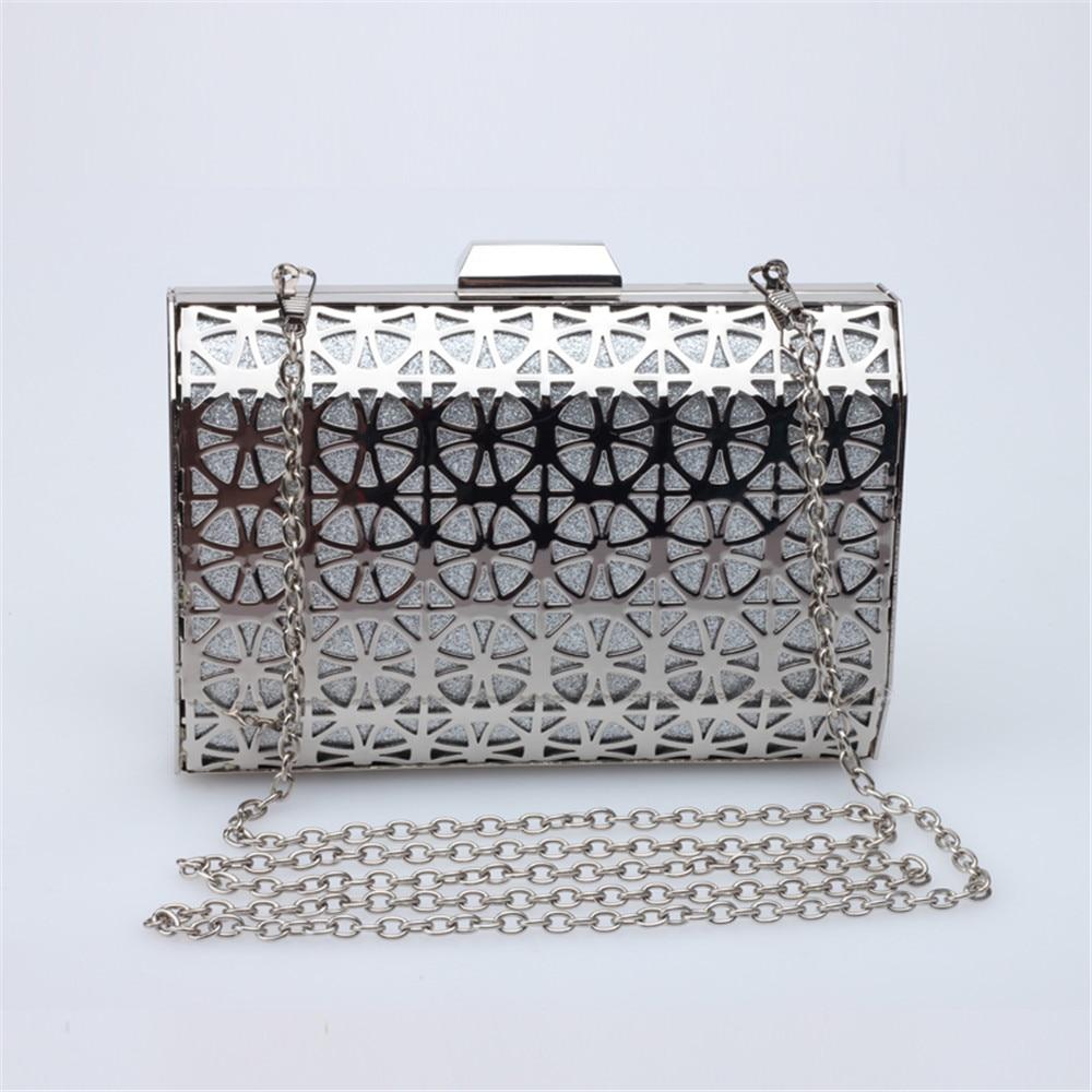 ФОТО DUDINI   Glitter Powder Iron Mesh Evening Bag  Metal Hollow Clutches Purse Wedding Party Handbag Ladies Shoulder Bag