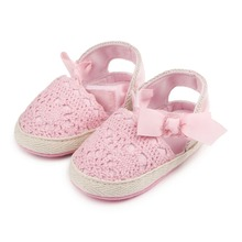 New Arrival Betterfly-Knot Design 4 Colors Soft Sole Crochet Baby Dress Shoes For Girls 0-15M
