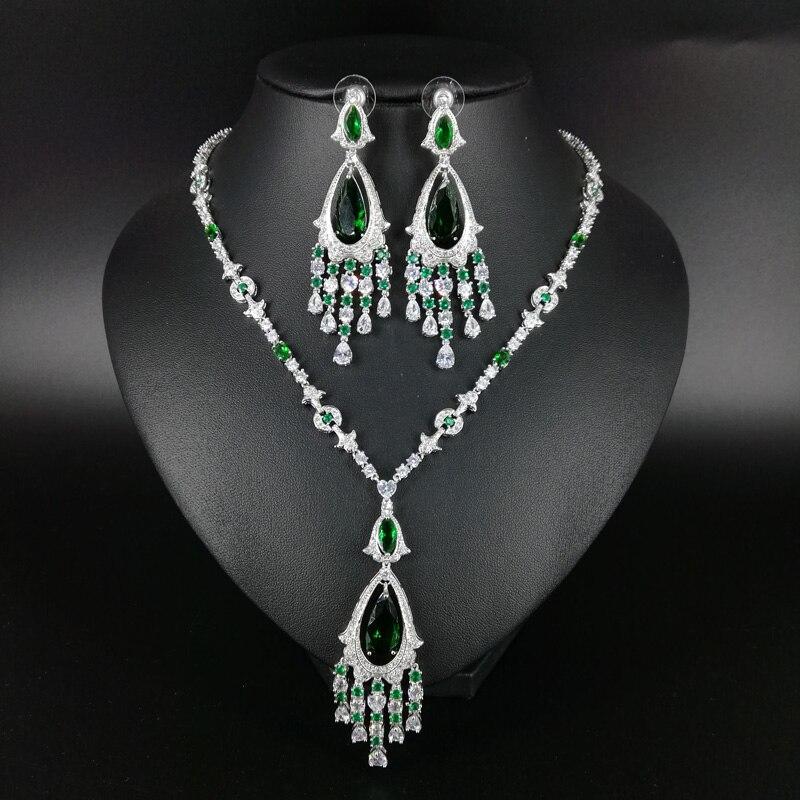 Здесь продается  2018 new fashion luxury elegant retro green tassel CZ necklace earring set,wedding bride dinner party formal jewelry free ship  Ювелирные изделия и часы