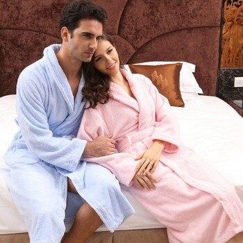 Winter Men bathrobe cotton Men's gown long thick soft winter men nightgown ladies women nightdress for girls home hotel autumn