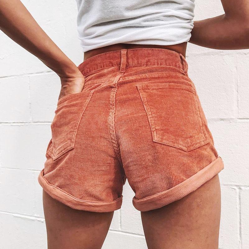 Fashion women shorts Elastic high waist corduroy shorts streetwear shorts female Loose summer zipper button short 2019 beachwear in Shorts from Women 39 s Clothing