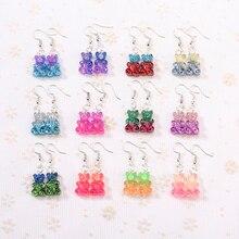 1pair Fashion Craft Resin glitter colorful gummy bear Drop Earrings For Women Japan/Korean Jewelry Wholesale