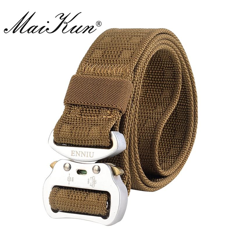 Maikun Nylon Belts For Men Military Tactical Men's Belt Male Metal Buckle Belt Male 3.7CM