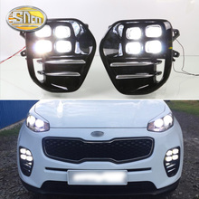 цены на For Kia Sportage KX5 2016 2017 2018 Plug and Play Car 12V DRL Waterproof LED Daytime Running Light LED Fog Lamp Daylight SNCN  в интернет-магазинах