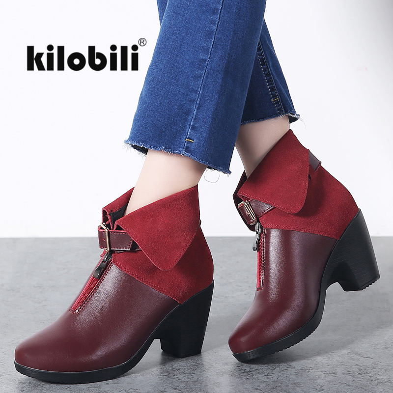 kilobili 2018 Winter New Women Boots Genuine Leather Zip Strap Buckle Boots Ladies High Heels Sexy Fashion Red Boots Female 41
