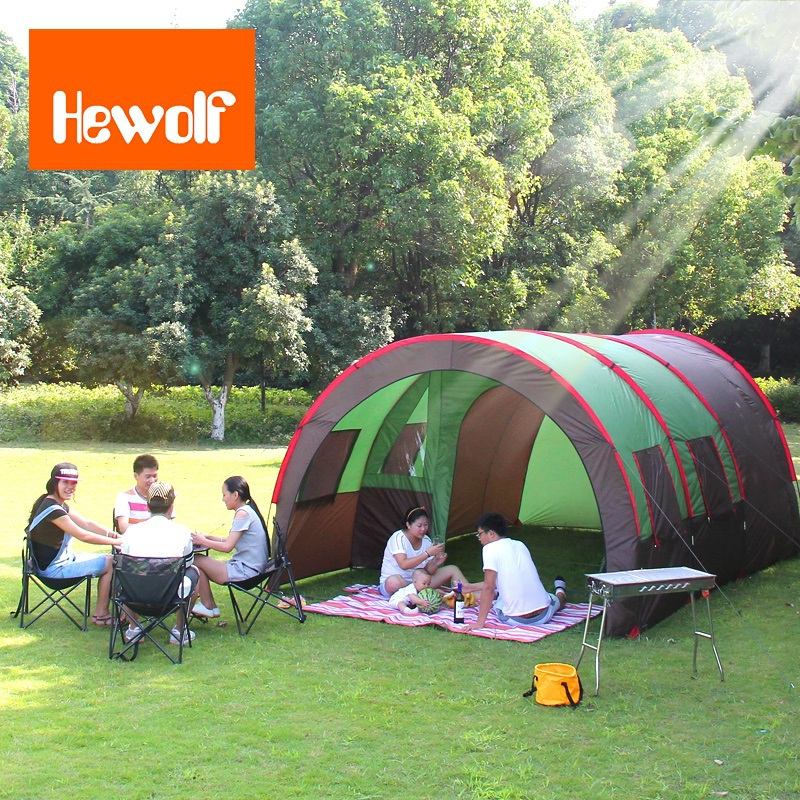 6-10 person large family tent camping tent sun shelter gazebo beach tent tunnel tent for Advertising/exhibition large camping tent 4 5 person gazebo