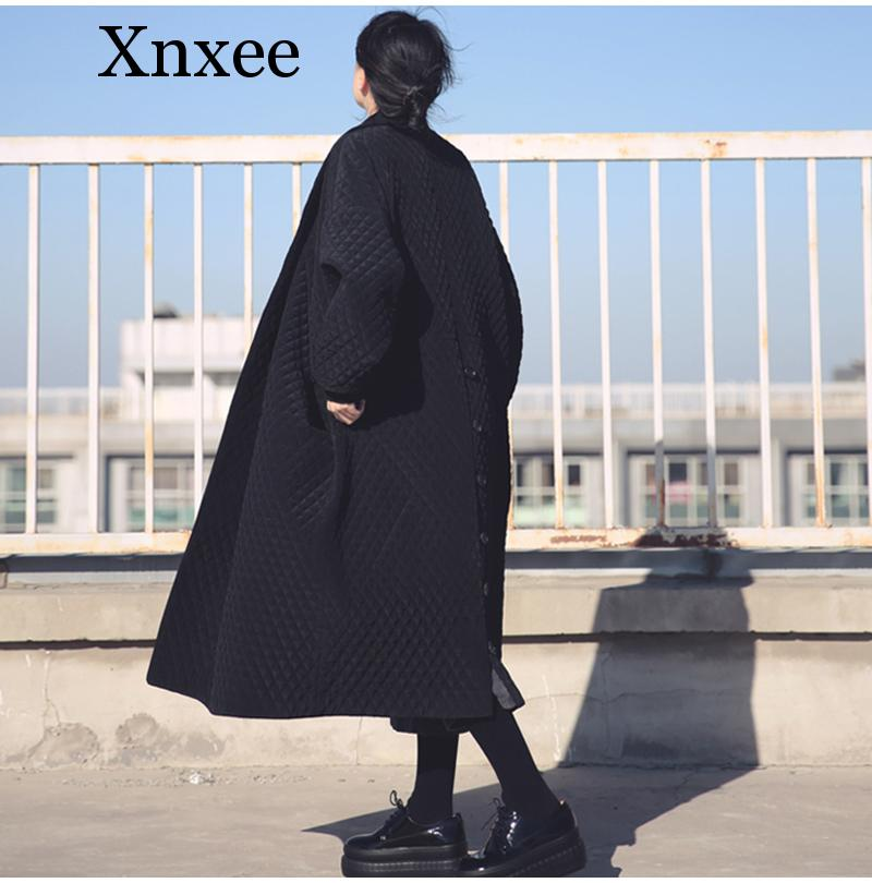Xnxee Women   Trench   With Pockets Female Overcoat 2019 Spring Winter Women Large Size Long Loose Black Windbreaker   Trench   Coat