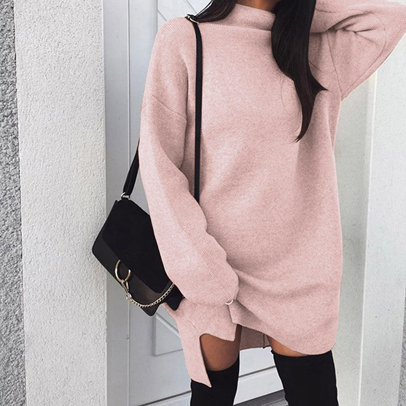 Elegant Women Dress Turtleneck Side Split Elastic Knit Sweater Dress Fashion Solid Color Long Sleeve Knitted Dress Vestidos